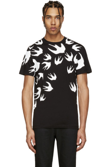 McQ Alexander Mcqueen - Black & White Swallow T-Shirt