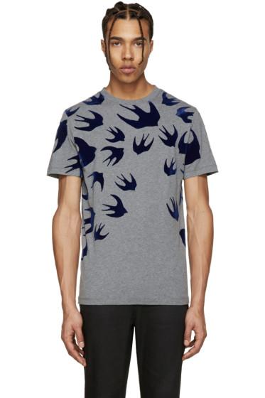 McQ Alexander Mcqueen - Grey & Navy Swallow T-Shirt