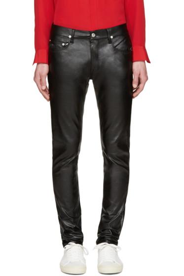April77 - Black Faux-Leather Joey Lezzer Jeans