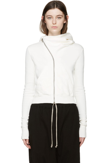 Rick Owens Drkshdw - Off-White Cropped Mountain Hoodie
