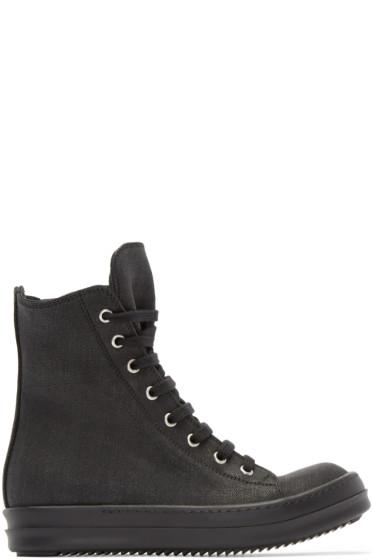 Rick Owens Drkshdw - Black Coated Canvas High-Top Sneakers