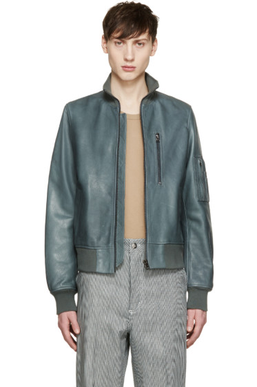 Acne Studios - Green Leather Adam Bomber Jacket