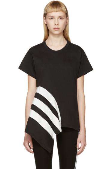Y-3 - Black & White Striped Asymmetrical T-Shirt