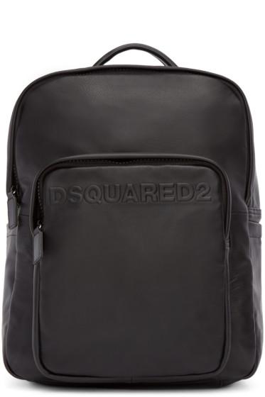 Dsquared2 - Black Leather Logo Backpack