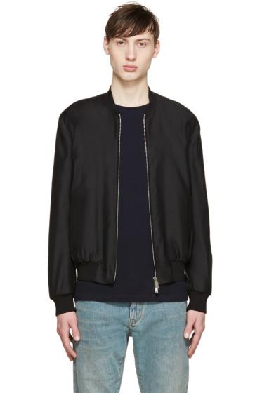 Dsquared2 - Black Wool Satin Bomber Jacket