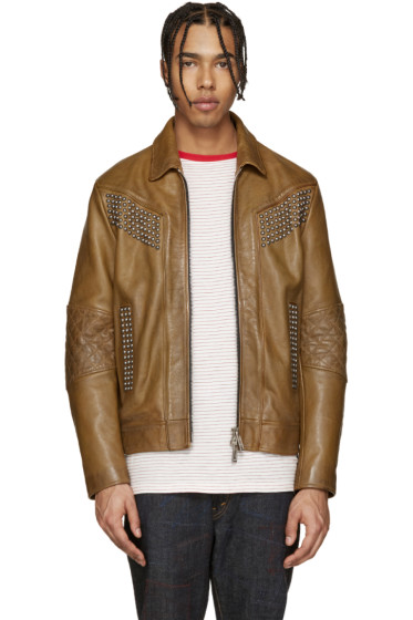 Dsquared2 - Camel Studded Leather Jacket