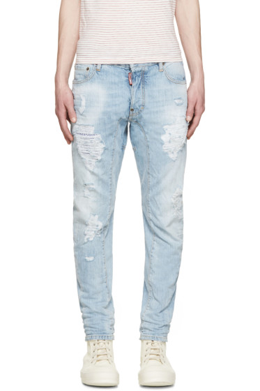 Dsquared2 - Blue Distressed Tidy Biker Jeans