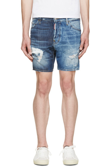 Dsquared2 - Blue Distressed Denim Shorts