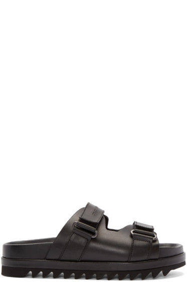 Dsquared2 - Black Leather Slip-On Sandals