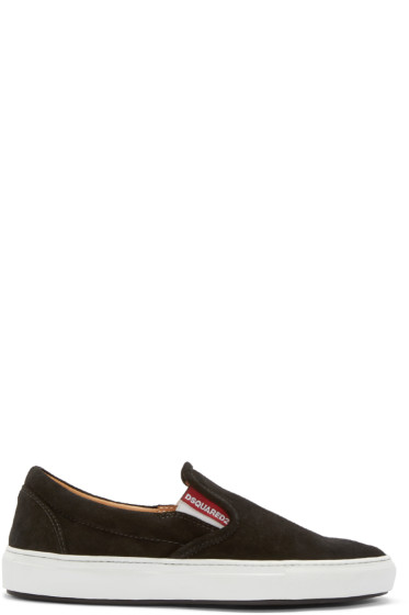 Dsquared2 - Black Velour Slip-On Sneakers