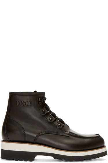 Dsquared2 - Black Leather Lace-Up Ankle Boots