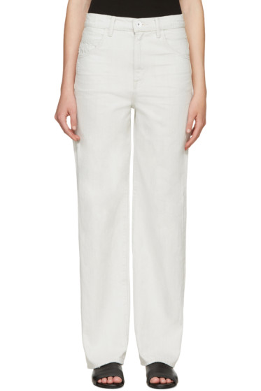 Helmut Lang - Off-White Cropped Destroy Full Jeans