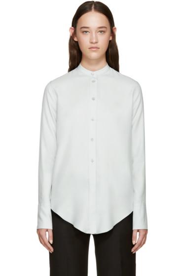 Helmut Lang - Blue Silk Band Collar Shirt