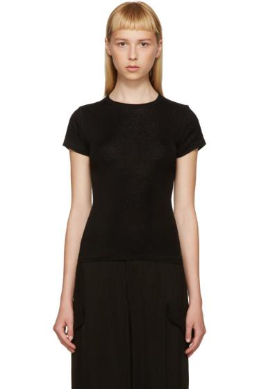Helmut Lang - Black Cotton & Cashmere T-Shirt