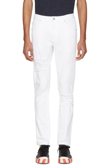 Helmut Lang - White Distressed Skinny Jeans
