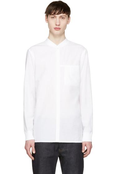 Helmut Lang - White Seersucker Bomber Shirt
