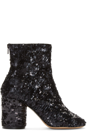 Maison Martin Margiela - Black Sequin Sock Boots
