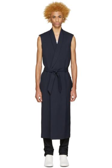 Maison Martin Margiela - Navy Gabardine Sleeveless Coat
