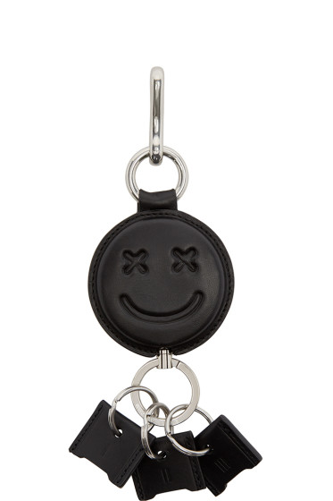 Alexander Wang - Black Leather Smiley Keychain