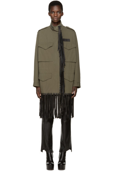 Alexander Wang - Green Leather Fringed Coat