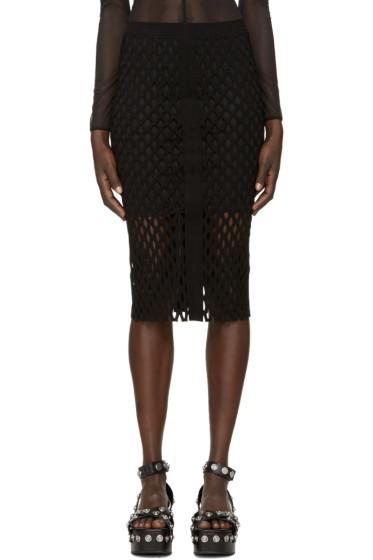 Alexander Wang - Black Split Mesh Pencil Skirt