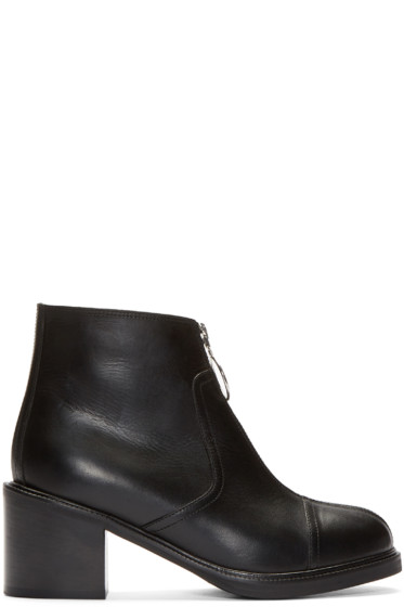 MM6 Maison Margiela - Black Leather Zip-Front Ankle Boots