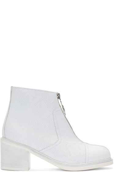 MM6 Maison Margiela - White Leather Zip-Front Ankle Boots