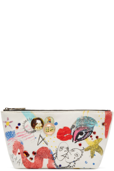 Marc Jacobs - Ecru Canvas Collage Cosmetic Case