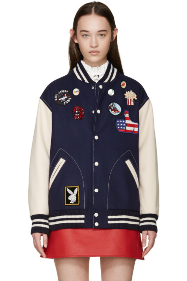 Marc Jacobs - Navy Embroidered Varsity Jacket