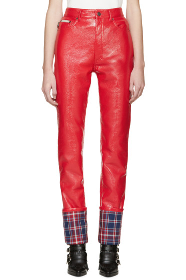 Marc Jacobs - Red Coated Stovepipe Trousers