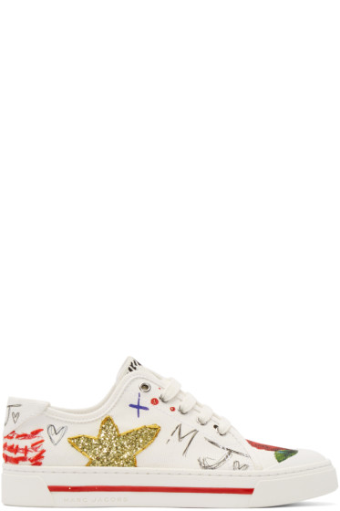 Marc Jacobs - White Embellished Christy Pave Sneakers