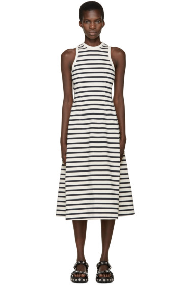 T by Alexander Wang - Ivory & Navy Striped Jersey Dress