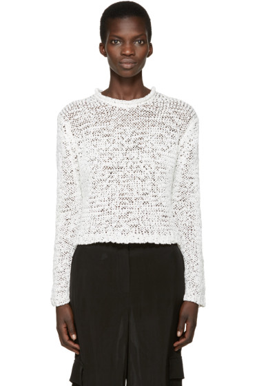T by Alexander Wang - White Textured Knit Pullover