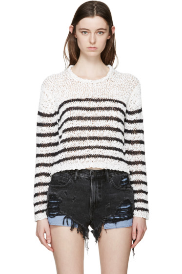 T by Alexander Wang - White & Black Knit Striped Sweater