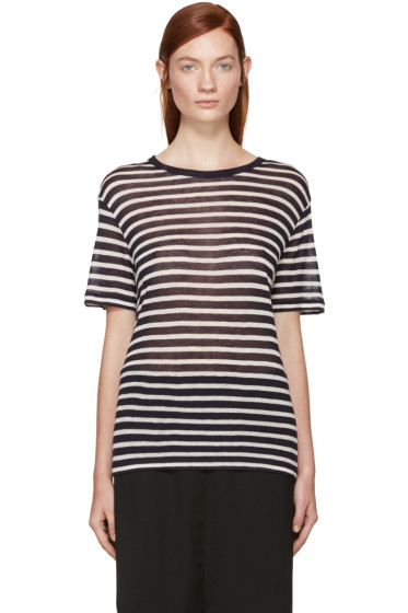 T by Alexander Wang - Ivory & Navy Striped T-Shirt