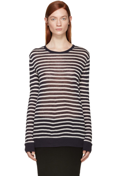 T by Alexander Wang - Navy & Off-White Striped T-Shirt