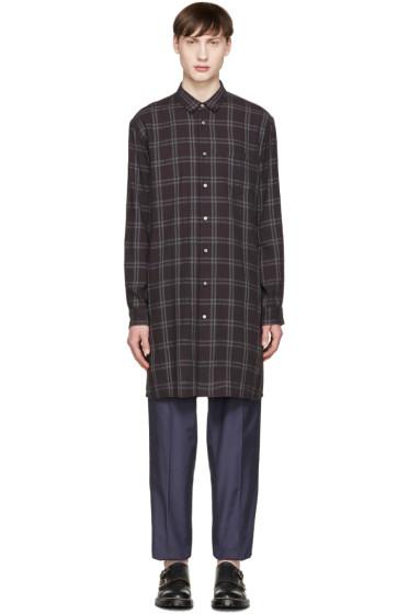 Robert Geller - Black Long Check Shirt