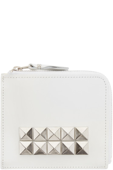 Comme des Garçons Wallets - White Leather Studded Wallet