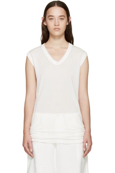 Rick Owens - White Sleeveless V-Neck T-Shirt