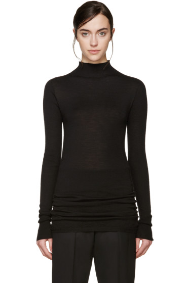 Rick Owens - Black Wool Lupetto Sweater
