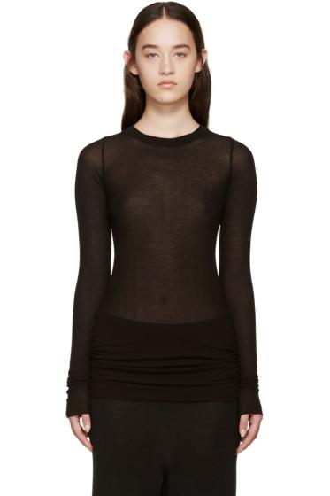 Rick Owens - Black Overlong Ribbed T-Shirt