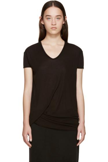 Rick Owens - Black Hiked V-Neck T-Shirt
