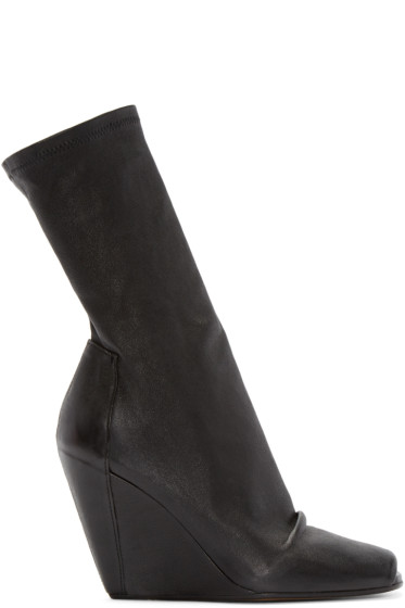 Rick Owens - Black Stretch-Leather Wedge Boots