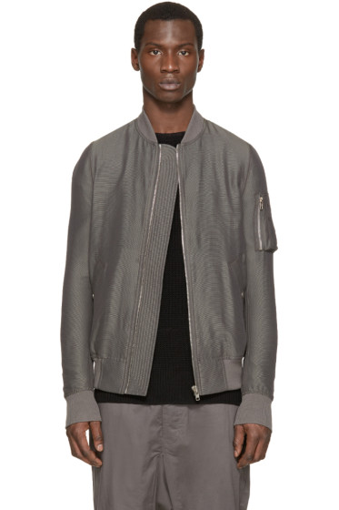 Rick Owens - Grey Silk Flight Bomber Jacket