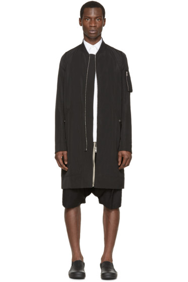 Rick Owens - Black Long Flight Bomber Jacket
