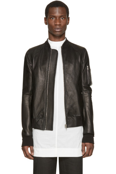 Rick Owens - Black Leather Bomber Jacket