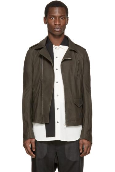 Rick Owens - Grey Leather Stooges Biker Jacket