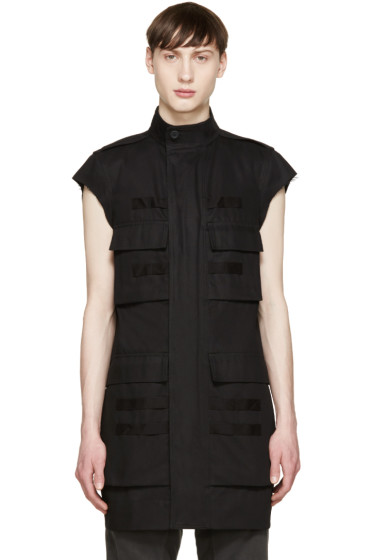 Rick Owens - Black Canvas Pocket Vest