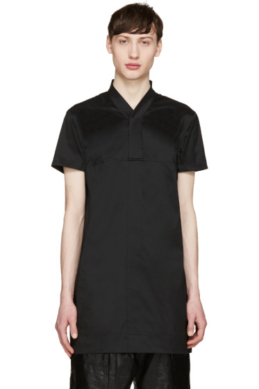 Rick Owens - Black Poplin Golf Shirt