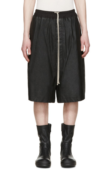 Rick Owens - Black Matte Leather Shorts
